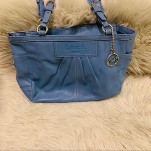 Coach Gallery F13759 Tote Blue Silver Leather Tote